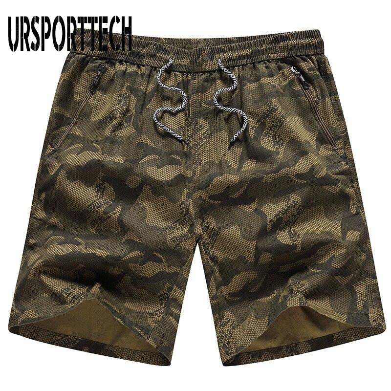 URSPORTTECH Mens Camouflage Shorts Summer Beach Zipper Secure Pocket Quick Dry Fashion 4xl Large Size Male Bermuda Short Homme