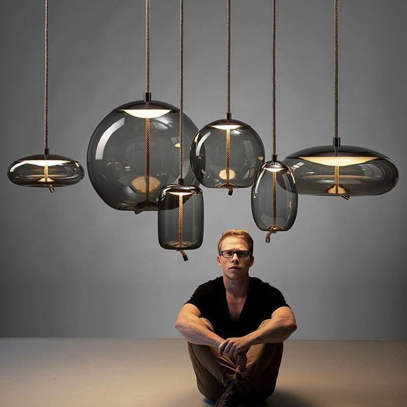 مصباح معلق زجاجي على الطراز الاسكندنافي مع عقدة بروكيس ، مصباح معلق إسكندنافي ، مصباح بجانب السرير ، ديكور إسكندنافي