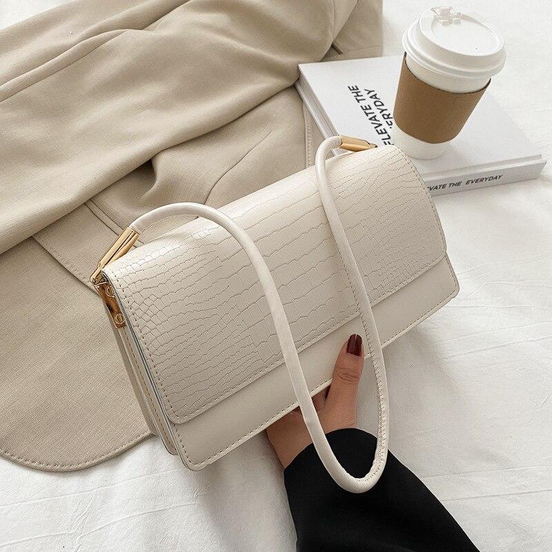 Crocodile-print handbag for women 2020 new fashion web celebrity retro armpit bag instagram niche small square bag