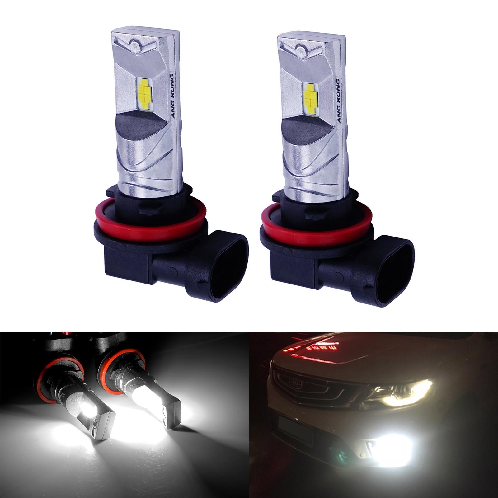 ANGRONG 2x H8 H11 лампы CSP мощностью 10 Вт светодиодный бортовой светильник Противотуманные фары Дневные ходовые огни светильник Лампа ксенон белый