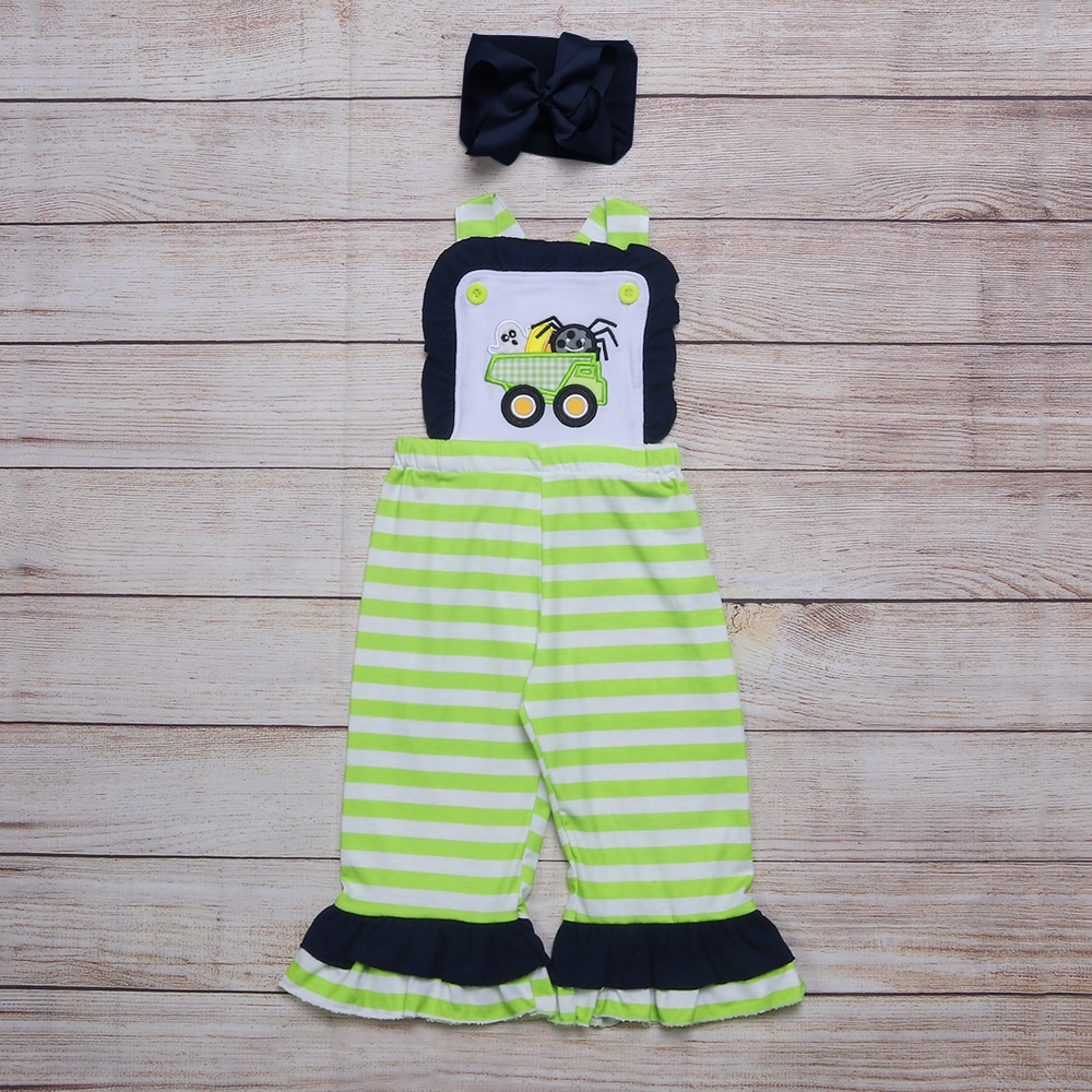 Summer Girls Clothes Green Striped Sleeveless Strap Navy Blue Lace Halloween Ghost Truck Embroidery