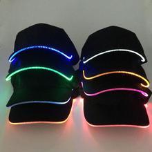 Fashion Unisex Solid Color LED Luminous Baseball Hat Christmas Party Peaked Cap