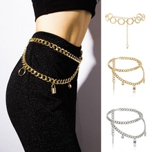 Fashion Women Waist Chain Silver Gold Color Dress Jeans Chain Belts for Women Lady Sexy Multi-layere