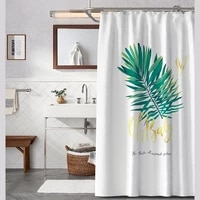 green tropical plants shower curtains bathroom polyester waterproof shower curtain leaves printing curtains for bathroom shower