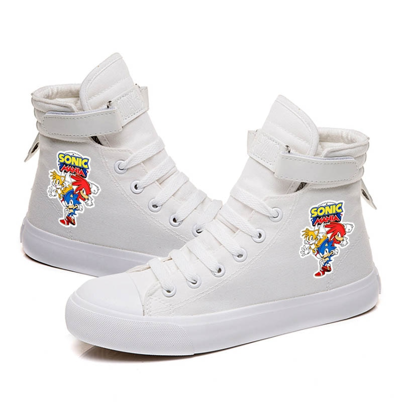 Kawaii Sonic High Top Canvas Flat Shoe Hip Hop Lace up Unisex Casual Breathable Sneakers for Boy Gir