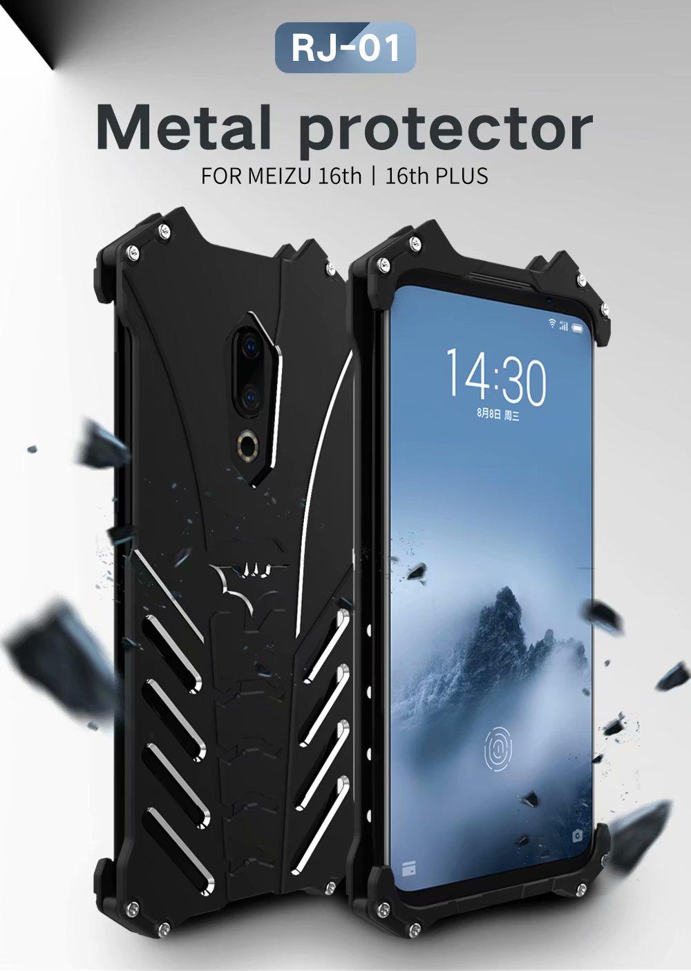 Para o Caso Meizu Pro 7 Plus Batman Luxo Alumínio Metal Bumper Case For Meizu Pro 6/MX6 Coque Capa para Meizu M15 Tampa Traseira