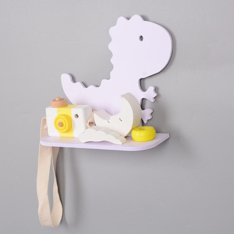 DIY Wall Decor Wood Dinosaur Shelf Rack Clapboard Animal Wall Shelves Wooden Wall Hanger for Children Room Decoration