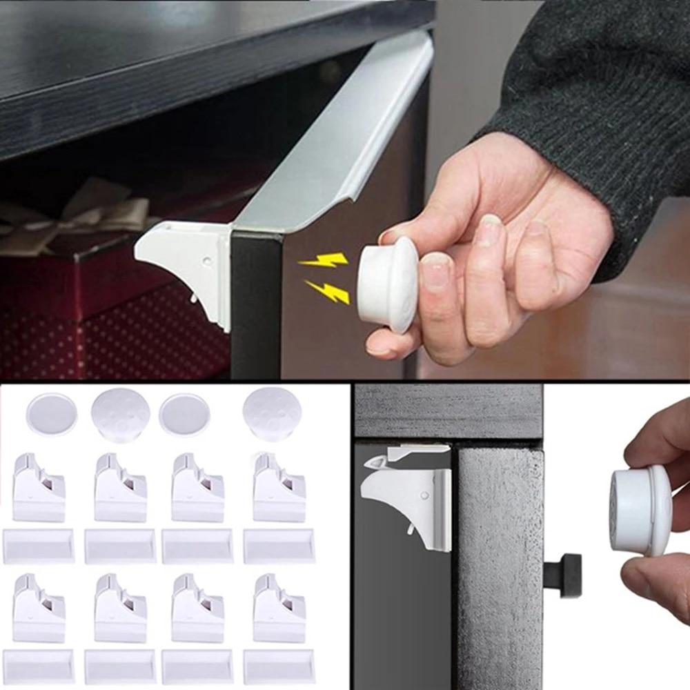 Магнитный замок для безопасности детей, защита для дверей шкафов, ящиков, невидимые замки для ящиков