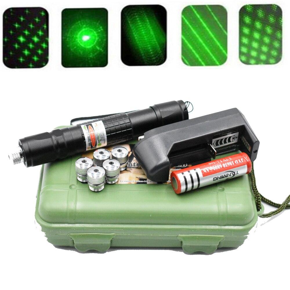 Зеленая лазерная указка высокой мощности 5 мВт, 303 нм, 18650 лазерная ручка, регулируемая поджигающая спичка с перезаряжаемой батареей