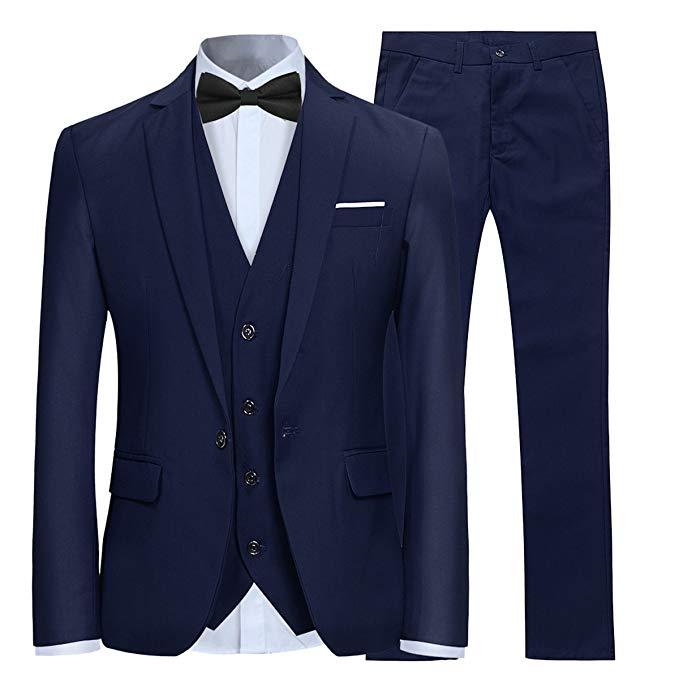 بدلة رجالية من 3 قطع ، نحيفة ، زر واحد ، للعريس ، أزرق داكن ، طية صدر السترة ، بدلة رسمية لحفلات الزفاف (سترة وسروال)