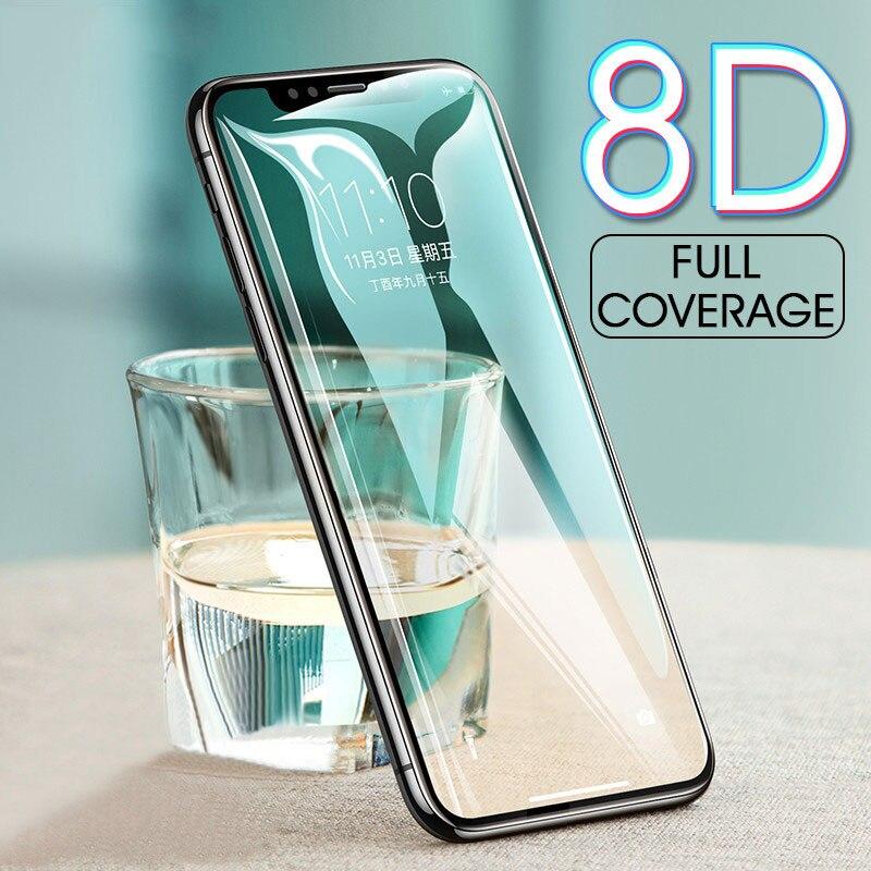 8d capa completa de vidro temperado para iphone x 10 6 7 8 borda de metal protetor de tela filme para iphone 6 s 7 8 plus 5 5S se vidro