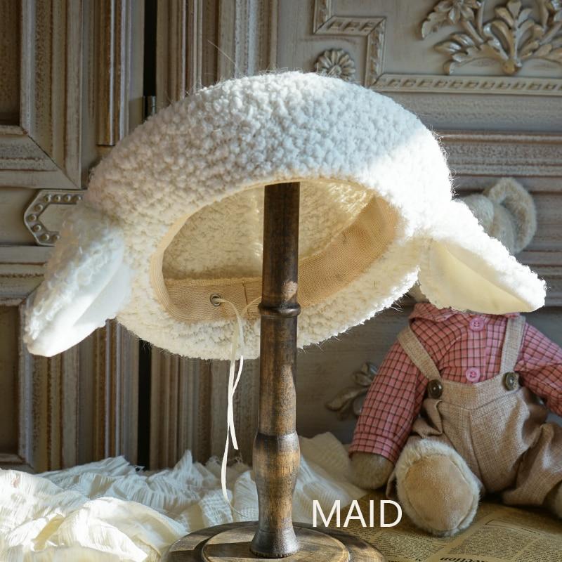 Original design sheep ears plush beret lamb wool Lolita hand-made cute