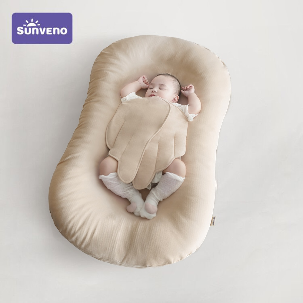 SUNVENO Portable Baby Nest Bed Baby Lounger & Infant Floor Seat-Newborn Essentials,Organic Cotton,Fiberfill