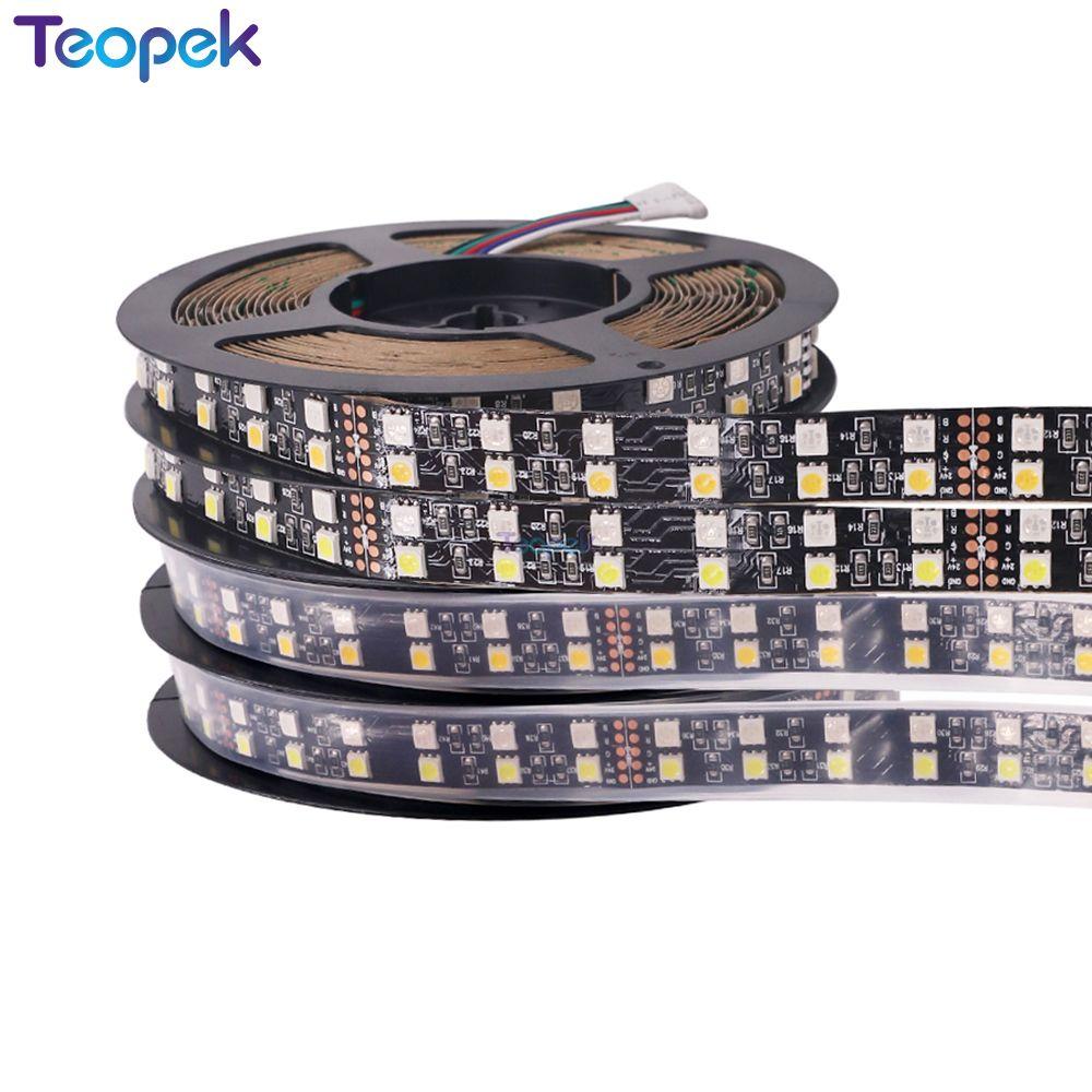 5050 tira LED de doble fila 120 LEDs/m 5M cc 12V negro/blanco PCB RGBWW LED cinta Flexible blanco cálido blanco RGB RGBW