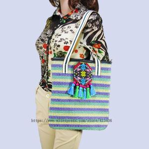 Free shipping Vintage Hmong Tribal Ethnic Thai Indian Boho shoulder bag message bag linen handmade embroidery Tapestry SYS-579