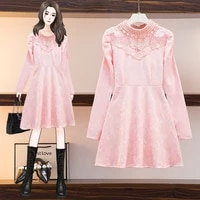 2021 winter womens vintage knitted dress turn long sleeve round neck plus velvet thick lace mid length m 3xl