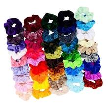 46 paketi bayanlar kadife Scrunchies karışık renkli saç bandı saç Bobbles