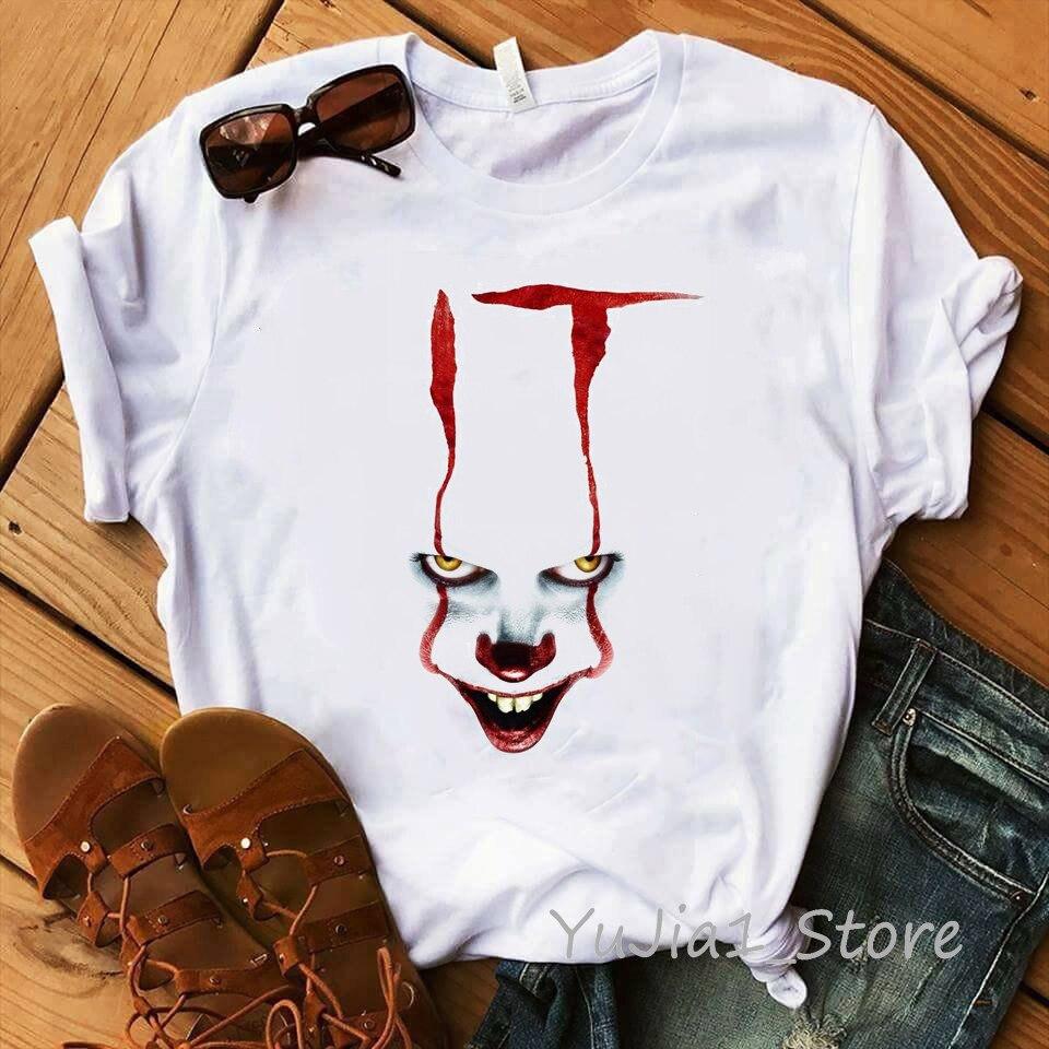 Camiseta divertida de la película femme 2019 verano caliente camiseta impresa de Steven King payaso personalizado halloween Pennywise camiseta Mujer Tops tee
