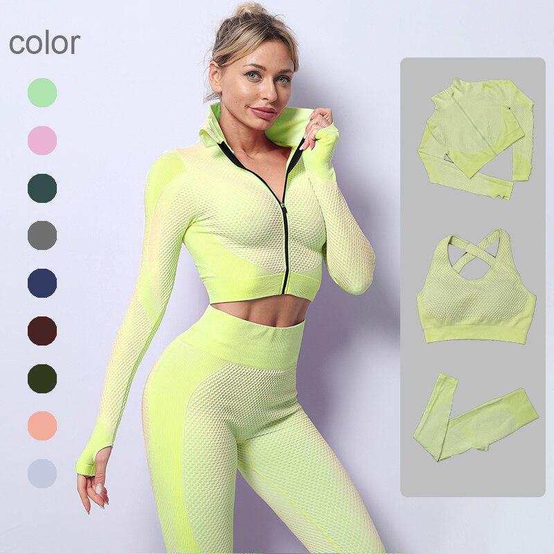 Conjunto De Yoga Sin Costuras Para Mujer De Ropa De Gimnasio Top...