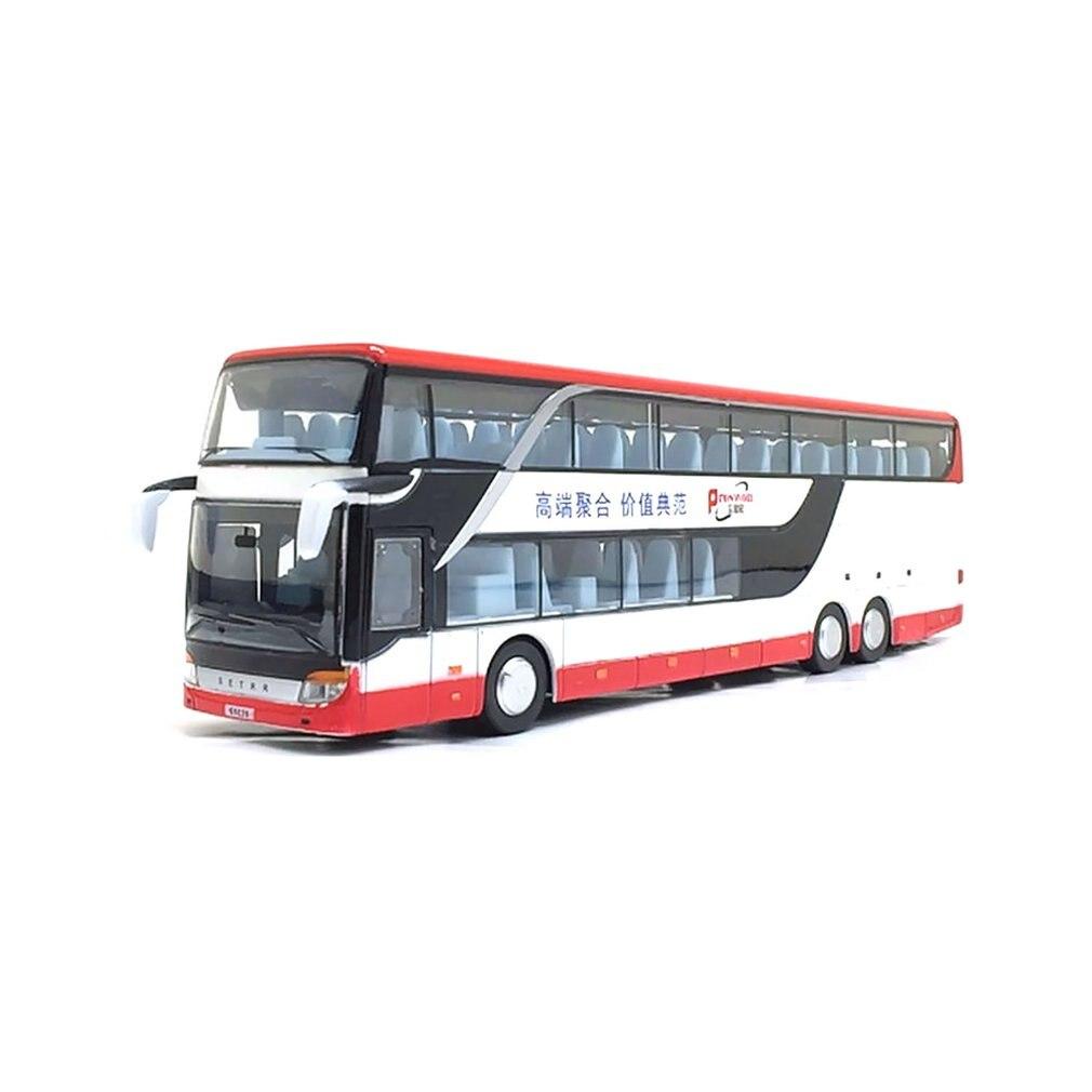 Modelo de autobús de fricción de aleación 1:32, gran imitación, autobús de turismo doble, vehículo de juguete flash, gran calida