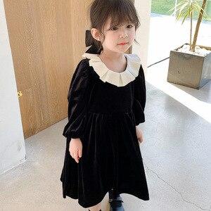 Gold Velvet Lotus Leaf Collar Black Dress for Girls Cute Party Princess Dress 2020 New Hit  Kids Girl Clothings  Dress