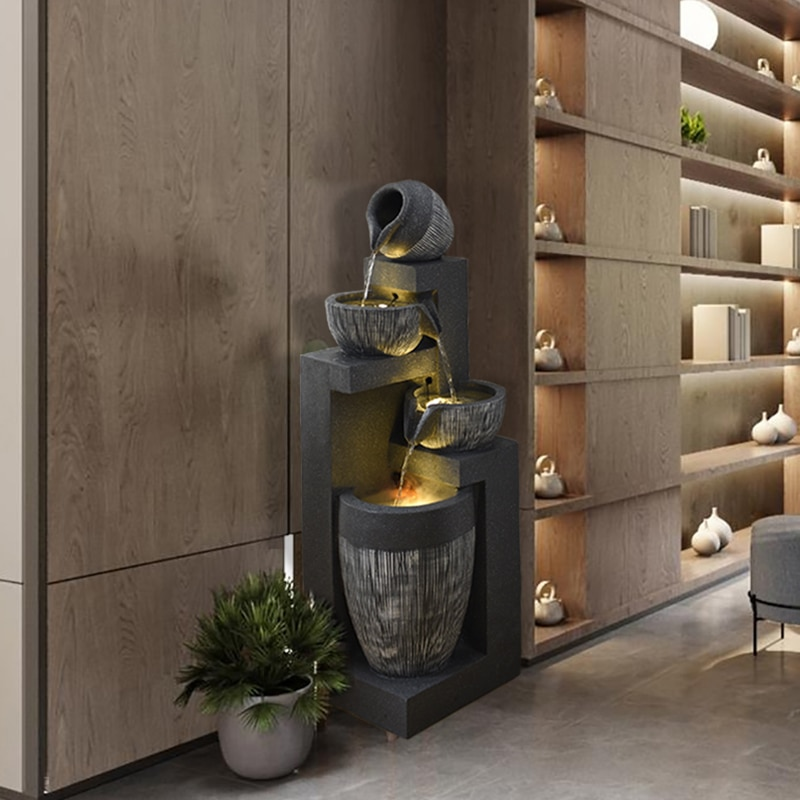 نافورة ديكور المنزل الإبداعية التلفزيون خزانة الديكور تعميم زهرة فنغ شوي عجلة خاصية الماء الديكور