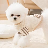 autumn and winter dog hit color stripes stitching two legged fleece spring and summer thin velvet cat clothes small dog clothing