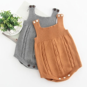 New Newborn Boys Girls Vest Jumpsuits Clothes 2020 Spring Autumn Baby Boys Girls Rompers Pure Color Knitted Children Rompers
