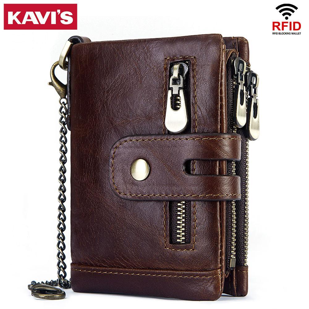 Кошелек KAVIS Rfid из натуральной коровьей кожи, мужской кошелек, мужской портфель, маленький кошелек