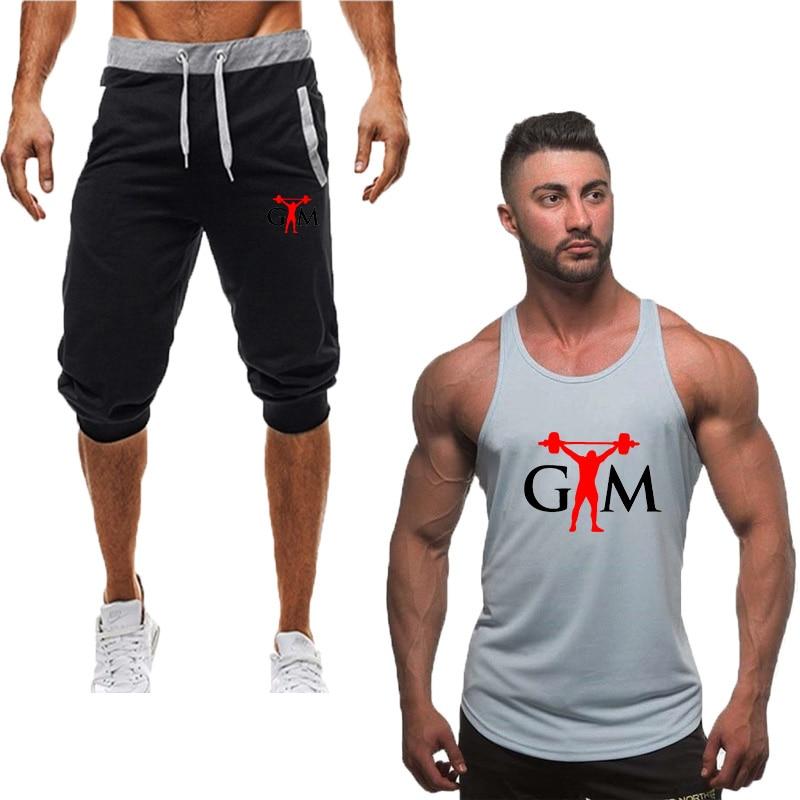 2019 New Tank top+Shorts Sets Men Letter Printed Summer Suits Casual Vests Men Tracksuits Brand Clothing Tops vest Set Male