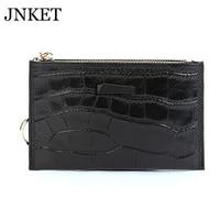 jnket new women%e2%80%98s mini cow leather wallet alloy key ring zipper coins wallet billfold card holder notecase