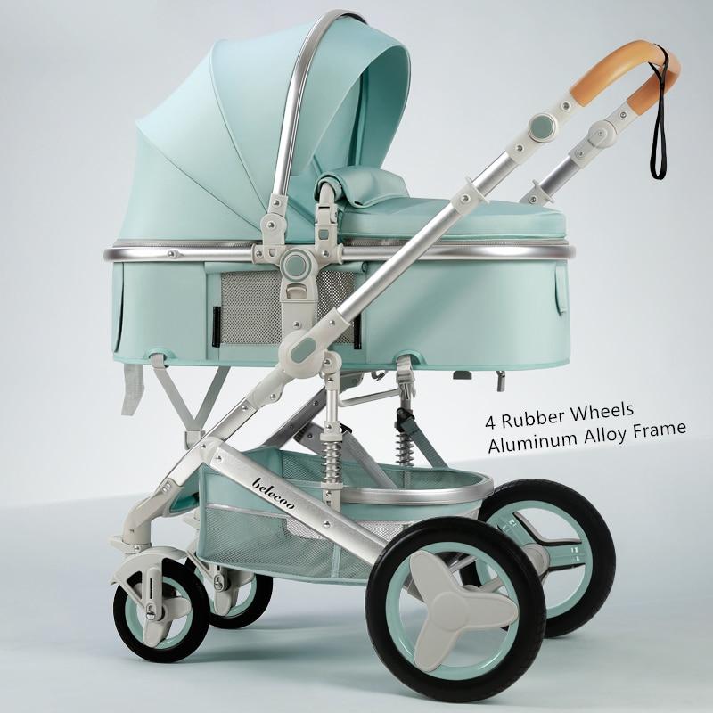 Belecoo Lightweight Luxury Baby Stroller 3 in 1 Portable High Landscape Reversible Stroller Hot Mom Pink Stroller Travel Pram