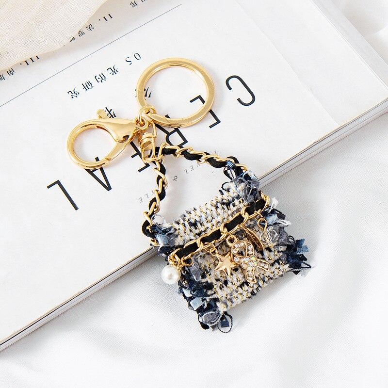 2020 novo tecido de luxo estilo bolsa chaveiros criativo chaveiro senhoras saco charme pingente moda chaveiros feminino chaveiro presentes
