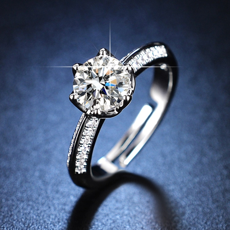 925 Sterling Silver Ring Wedding Ring Diamond Rings for Women Resizable Rings Silver 925 Jewelry