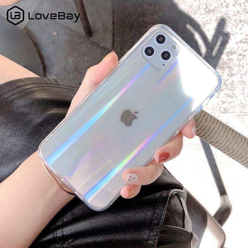 Lovebay gradiente arco-íris laser caso de telefone para o iphone 11 pro x xr xs max 8 7 plus se 2020 11 acrílico duro transparente capa traseira