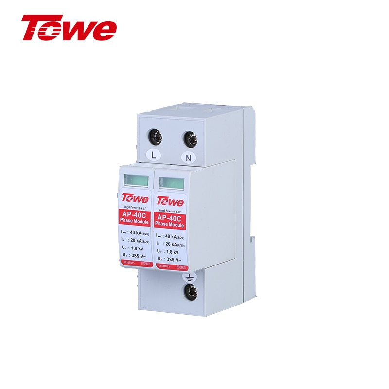 TOWE AP 40C 2P 20kA Three Phase Surge Protective Device Over Voltage Protector Low-voltage Arrester Device C Level free shipping geya grv8 04 three phase voltage control relay phase sequence phase failure over voltage undervoltage protection