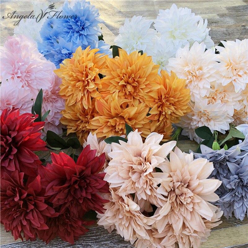 Retro 7 rama europea flor Artificial Dahlia ramo Daisy Flor de seda crisantemo Decoración Para Boda Casa de comedor mesa de comedor regalo