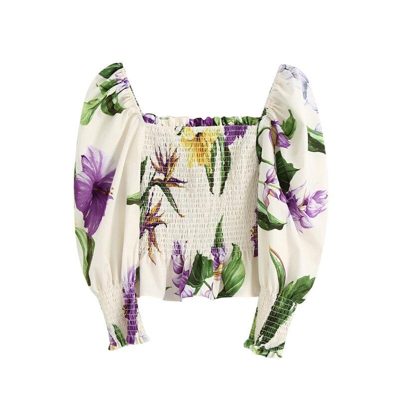 BLSQR kadınlar tatlı çiçek baskı fırfır mahsul bluzlar moda puf kollu elastik kadın gömlek kare yaka Chic Tops