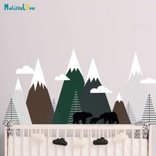 Adventure Mural Mountains Woodland Wall Sticker Decal Forest Animal Bear Family Baby Kids Nursery Room Decor BA479