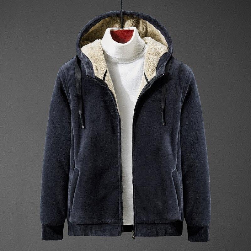 GD18 الخريف والشتاء الرجال سترة ماركة الموضة مقنعين أفخم سميكة الرجال معطف غير رسمي الرجال الموضة