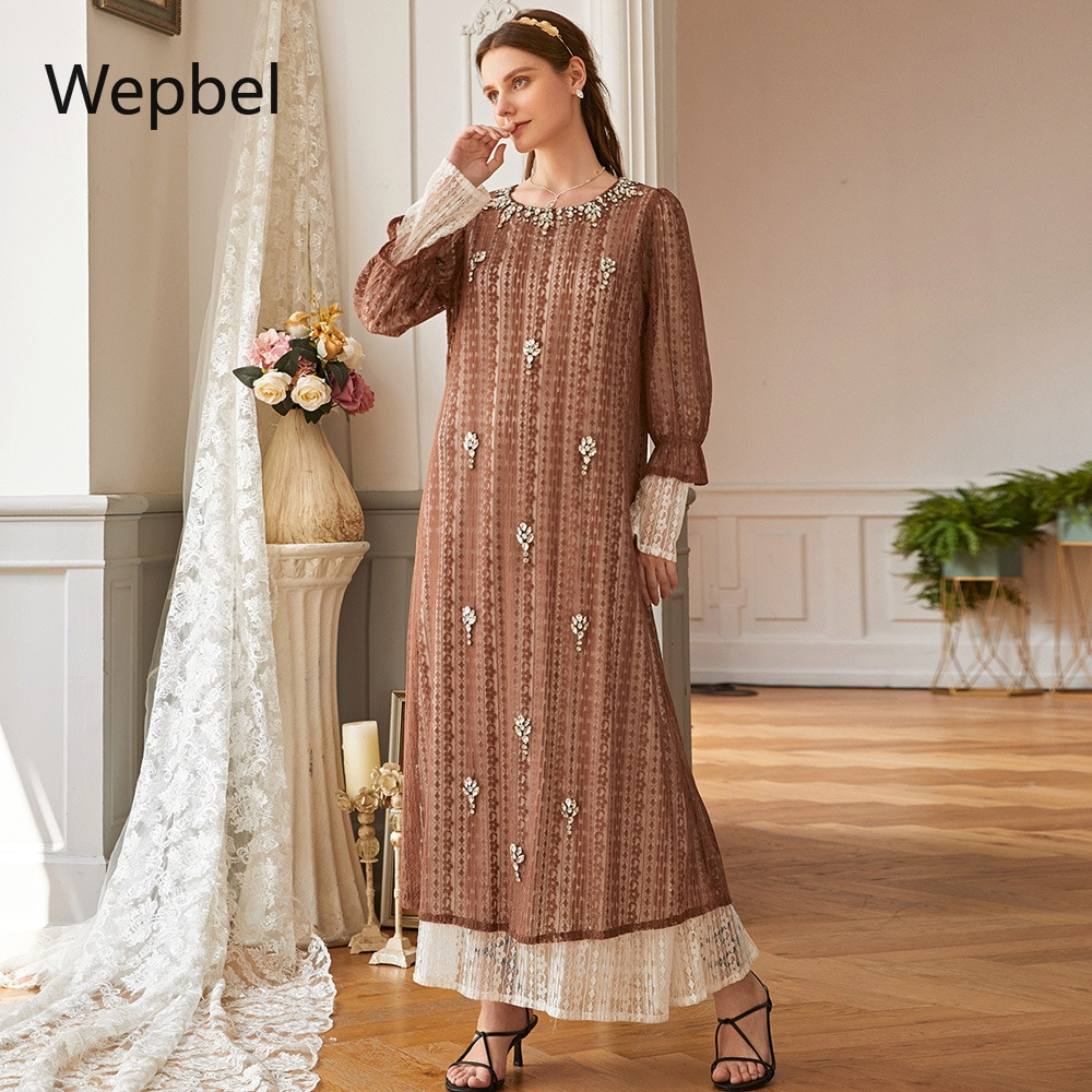 Traje de color caqui de pavo WEPBEL de manga larga de encaje con cristales vestido musulmán de manga larga de diamantes Abaya árabe ropa islámica suelta