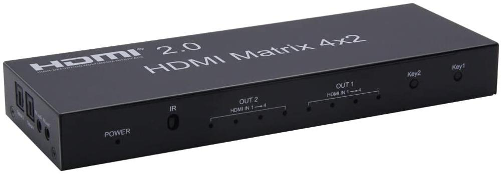 2.0 HDMI Matrix 4x2 4K@60Hz HDR Switch Splitter 4 in 2 Out RGB/YUV 4:4:4 Optical SPDIF + 3.5mm Jack Audio Extractor HDMI Switch enlarge