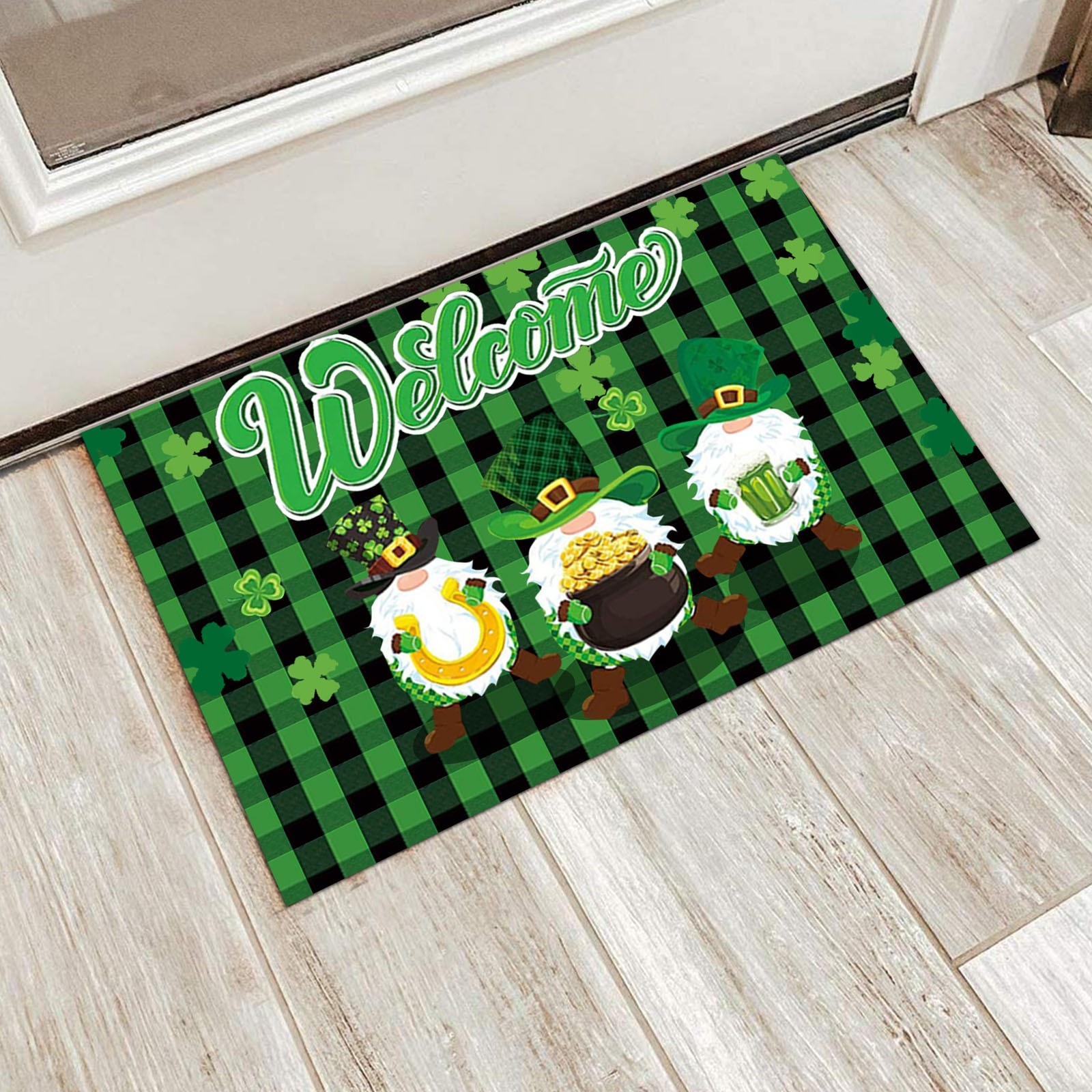 ¡2021St! Patrick día felpudos de bienvenido de entrada de casa decoración de...