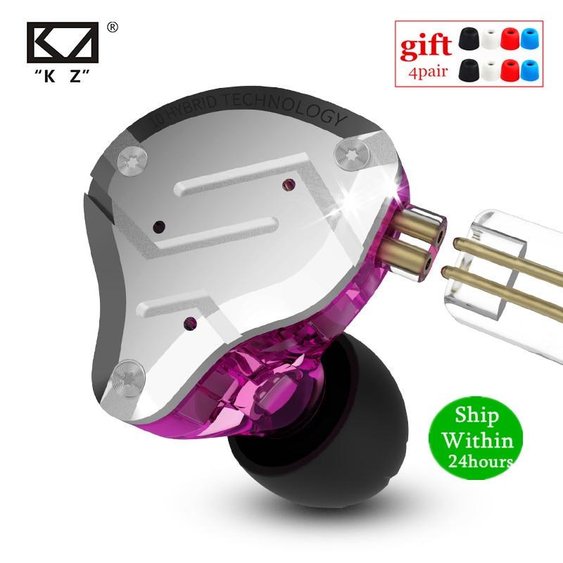 KZ ZS10 PRO 1DD + 4BA HIFI auriculares de Metal híbrido en el oído auriculares deportivos con cancelación de ruido AS10 ZST ZSN PRO ES4 ZSX C12 V90 P1