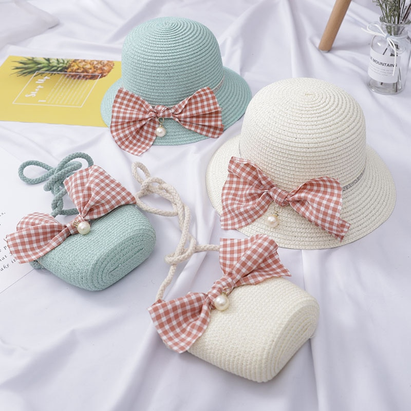 2021 Children's New Small Fresh Bag Sunscreen Girl Summer Beach Bowknot Pearl Wave Straw Hat Kids Baby Sun Caps  HT08