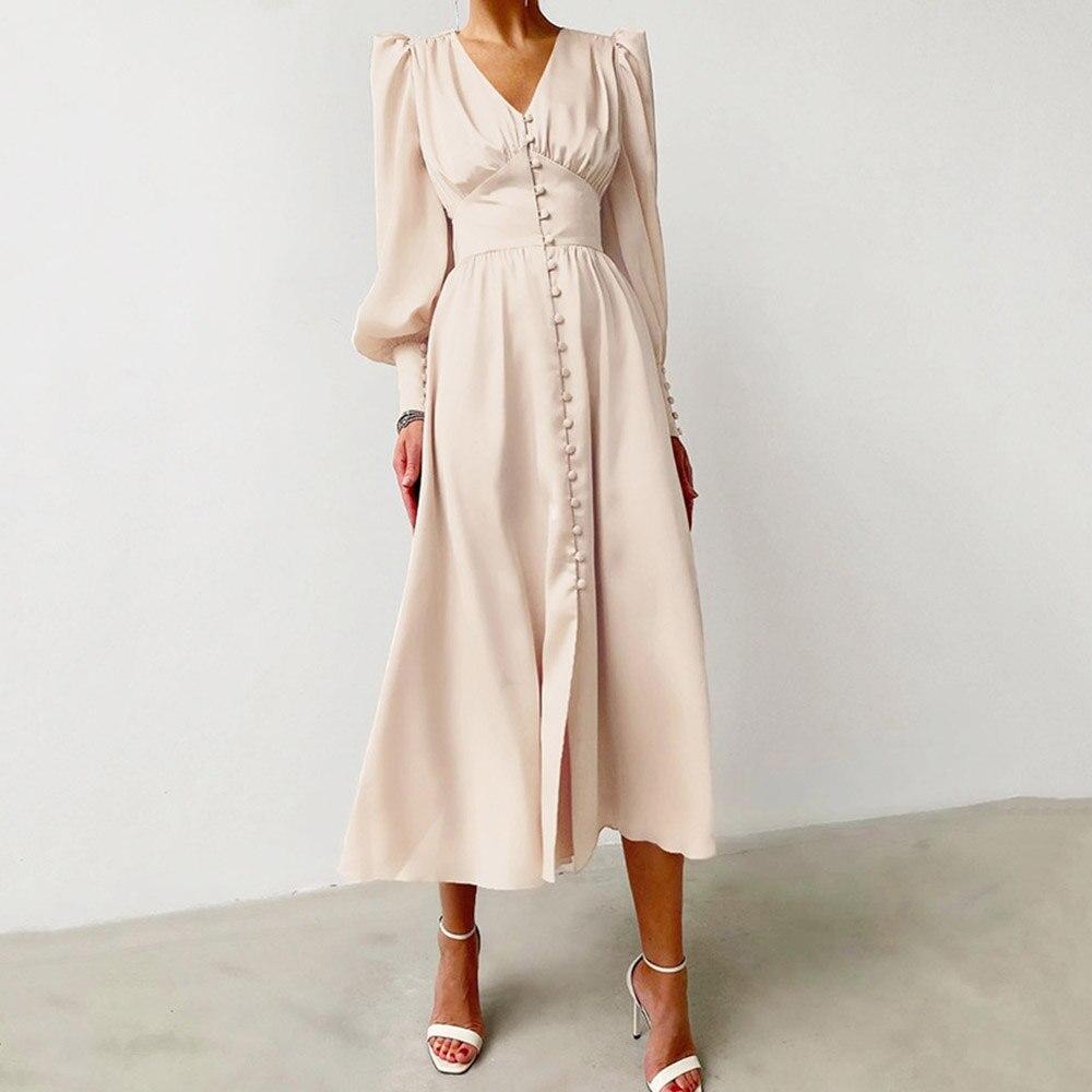 Elegant French Retro Satin Dress Simple Female Design Lantern Sleeves High Waist Slim Tunic V Neck Vintage Dresses Minimalist