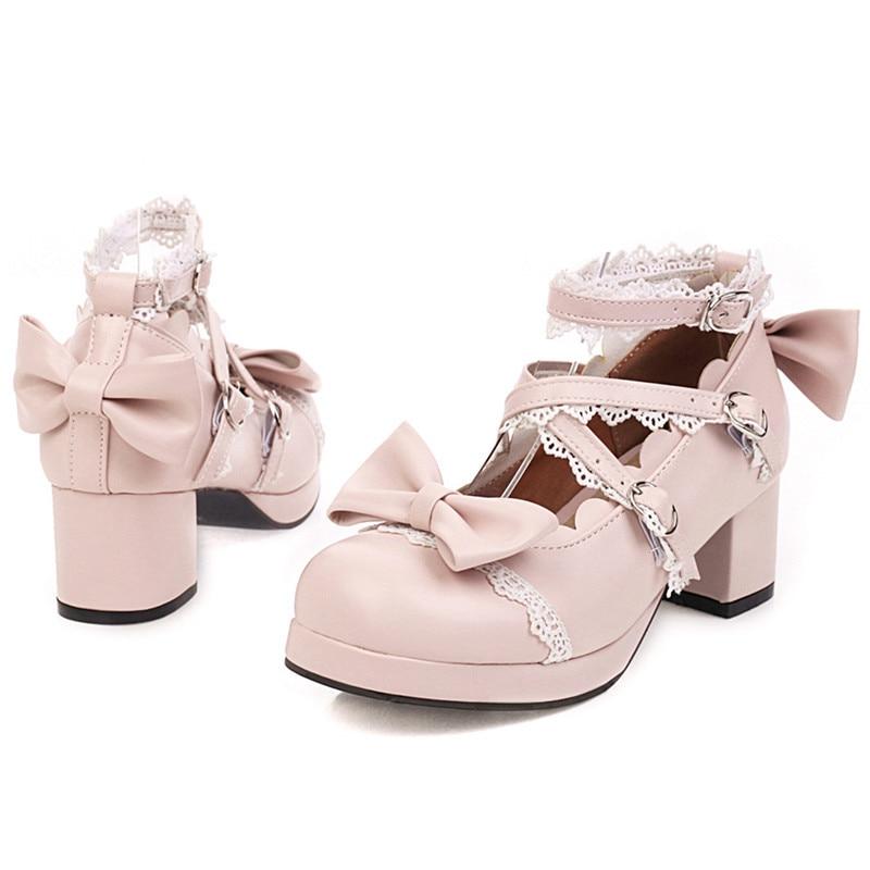 Chaussures Lolita mignonnes noir Mary Jane chaussures pour femmes talons hauts plate-forme escarpins bloc talons Cosplay chaussures Kawaii femme rose blanc