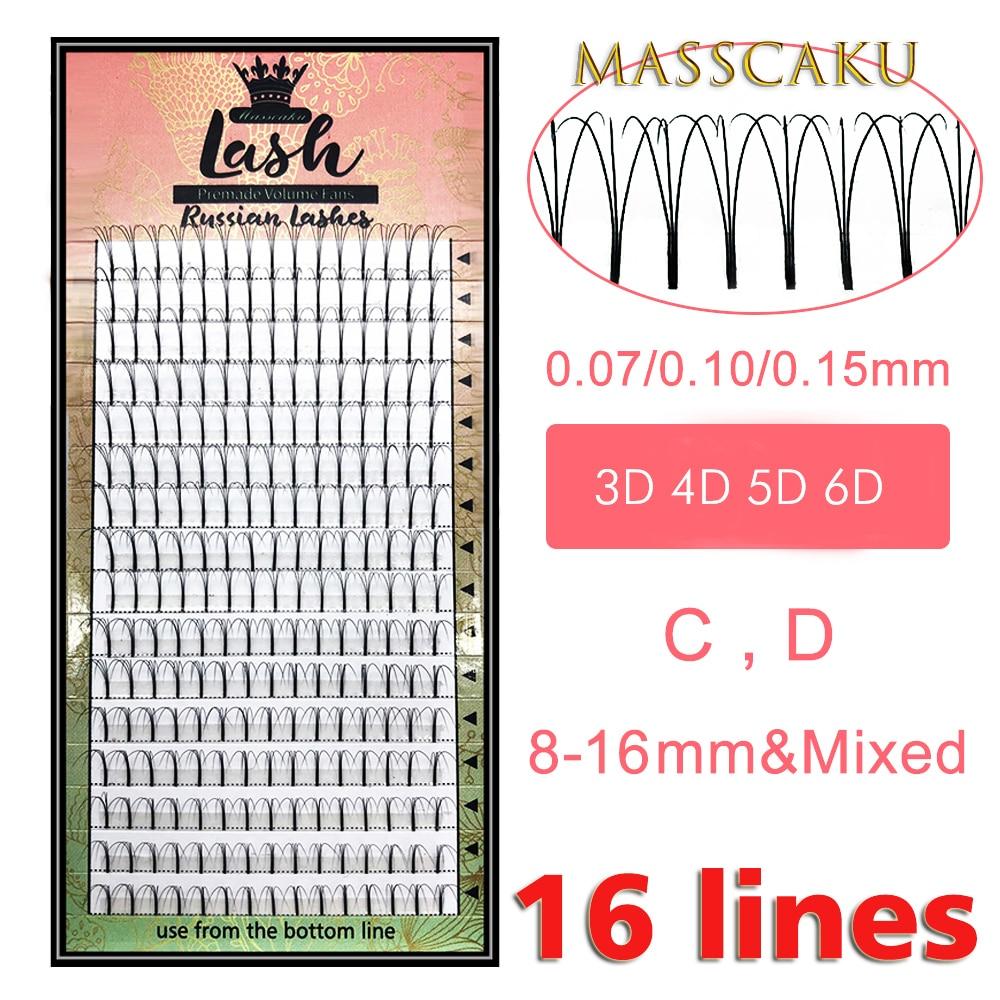 MAS pestañas 16 líneas prefabricadas volumen Fans 3d/4d/5d/6d pestañas rusas extensiones de pestañas con volumen Pre hecho pestañas de imitación Mink