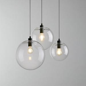 Modern Nordic Glass Ball Pendant Lights Globe Fixture Home Deco Clear Glass Pendant Lamp DIY E27 Suspension Kitchen Hanging Lamp