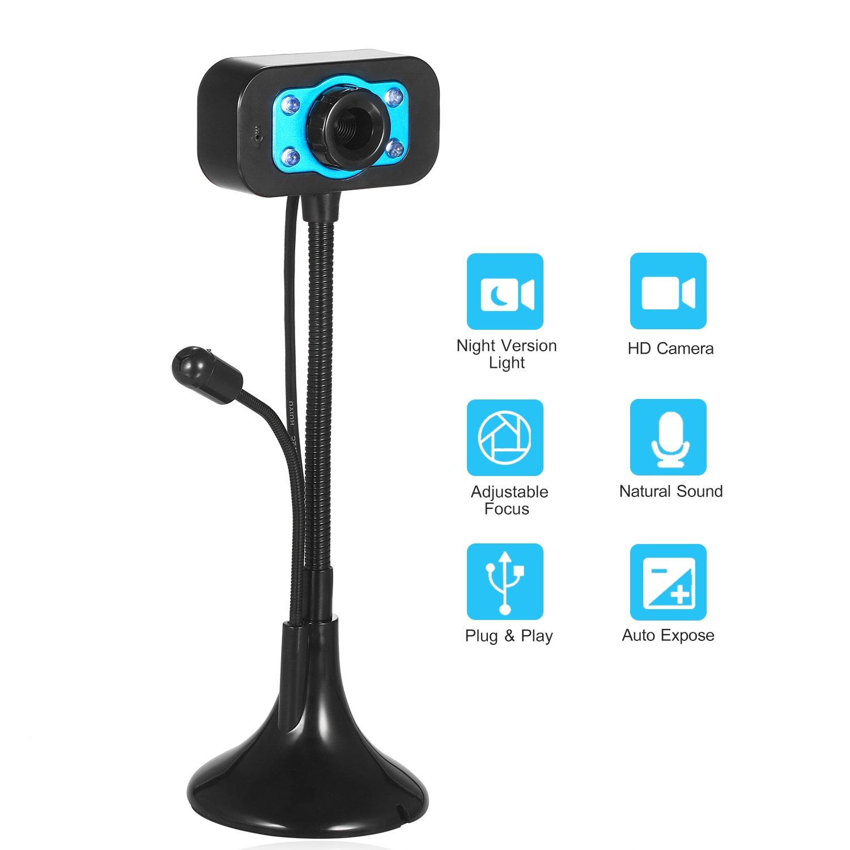 HD Webcam USB Desktop Laptop Camera Mini Plug Play Video Calling Computer Camera with Mic Night Version LED Rotatable stander